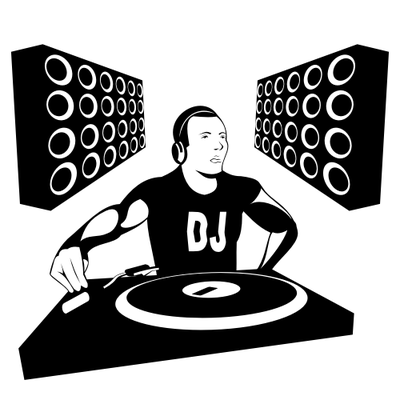 Silhouette Dj Boy With Speakers Vector Image   Vectorhq Com