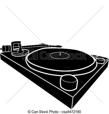 Vector Clipart Of Dj Decks   Black And White Illustration Of Dj Deck