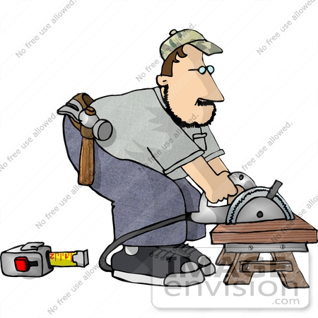 Carpenter Man Bending Over A Power Saw To Cut Wood Clipart    17435 By
