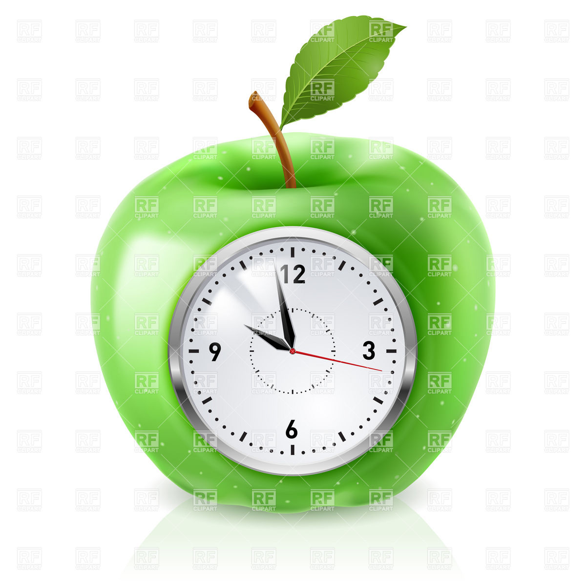 Green Apple Clock   Time For Healthy Food 6838 Download Royalty Free
