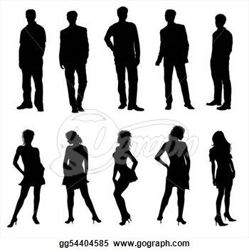 Stock Illustration Young Adults Silhouettes Black White Clipart