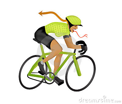 2d Cartoon Illustration Of A Biker Girl Cycling At Monster Speeds