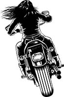 Biker Chick Back Graphics And Stock Art For Logo Design