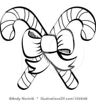 Candy Cane Black And White Clipart - Clipart Kid