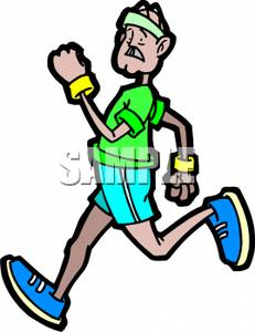 Cartoon Of An Elderly Man Jogging   Royalty Free Clipart Picture