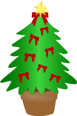 Christmas Tree Clip Art Evergreen Tree With Red Bows Scrapbook Art