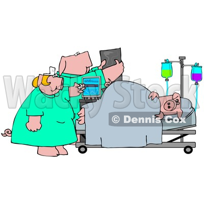 Clipart Illustration Of A Nurse And Doctor Pig Attending To A Patient