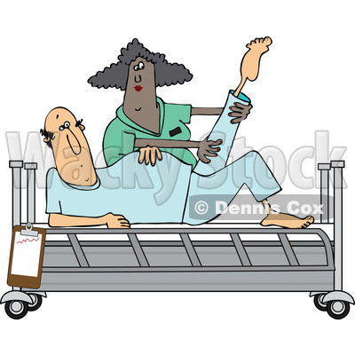 Clipart Of A Black Female Nurse Helping A White Male Patient Stretch
