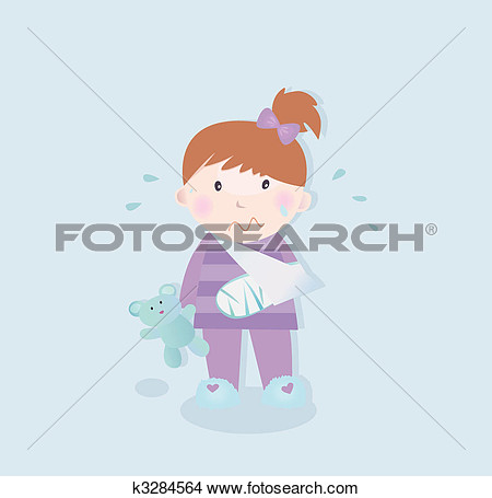 Clipart Of Small Patient   Child With Fractured Bone K3284564   Search