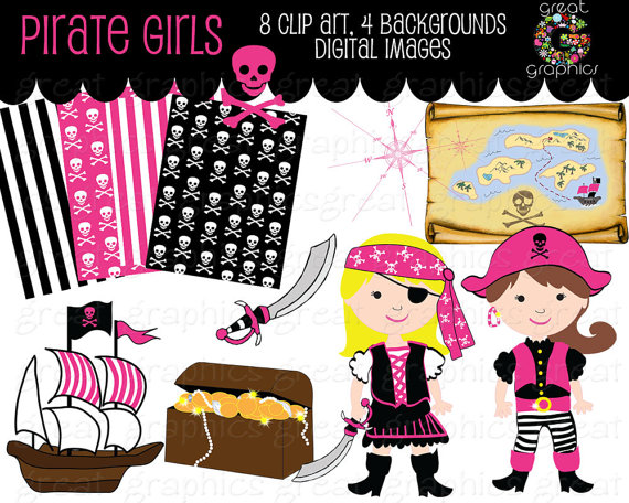 Girl Pirate Clipart Pirate Clipart Pirate Paper Pirate Digital Paper