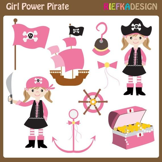 Girl Pirate Clipart Set Pink Pirates Clipart Set By Riefka  5 00