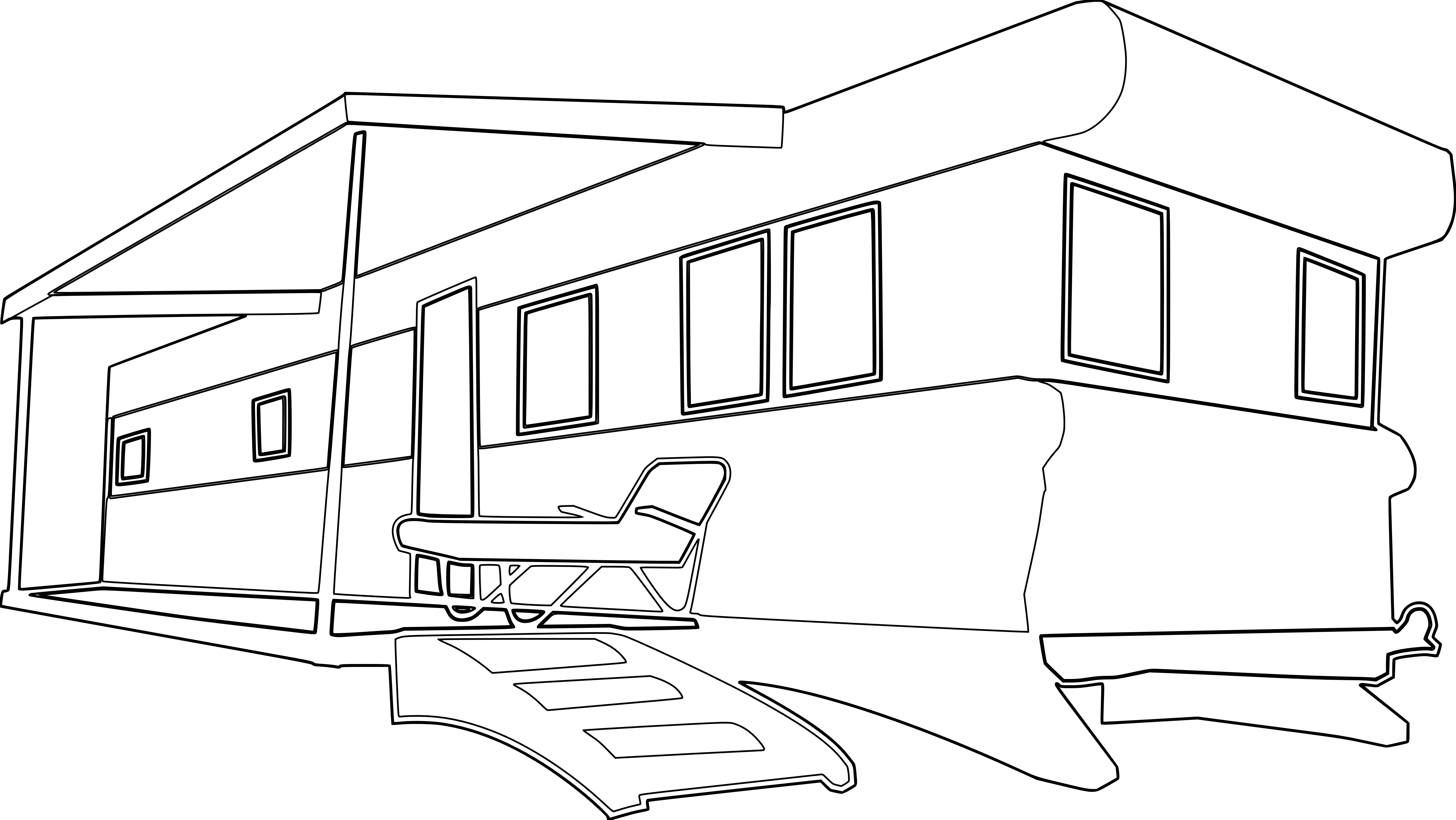 Mobile Home Black White Line Art Coloring Book Colouring Svg
