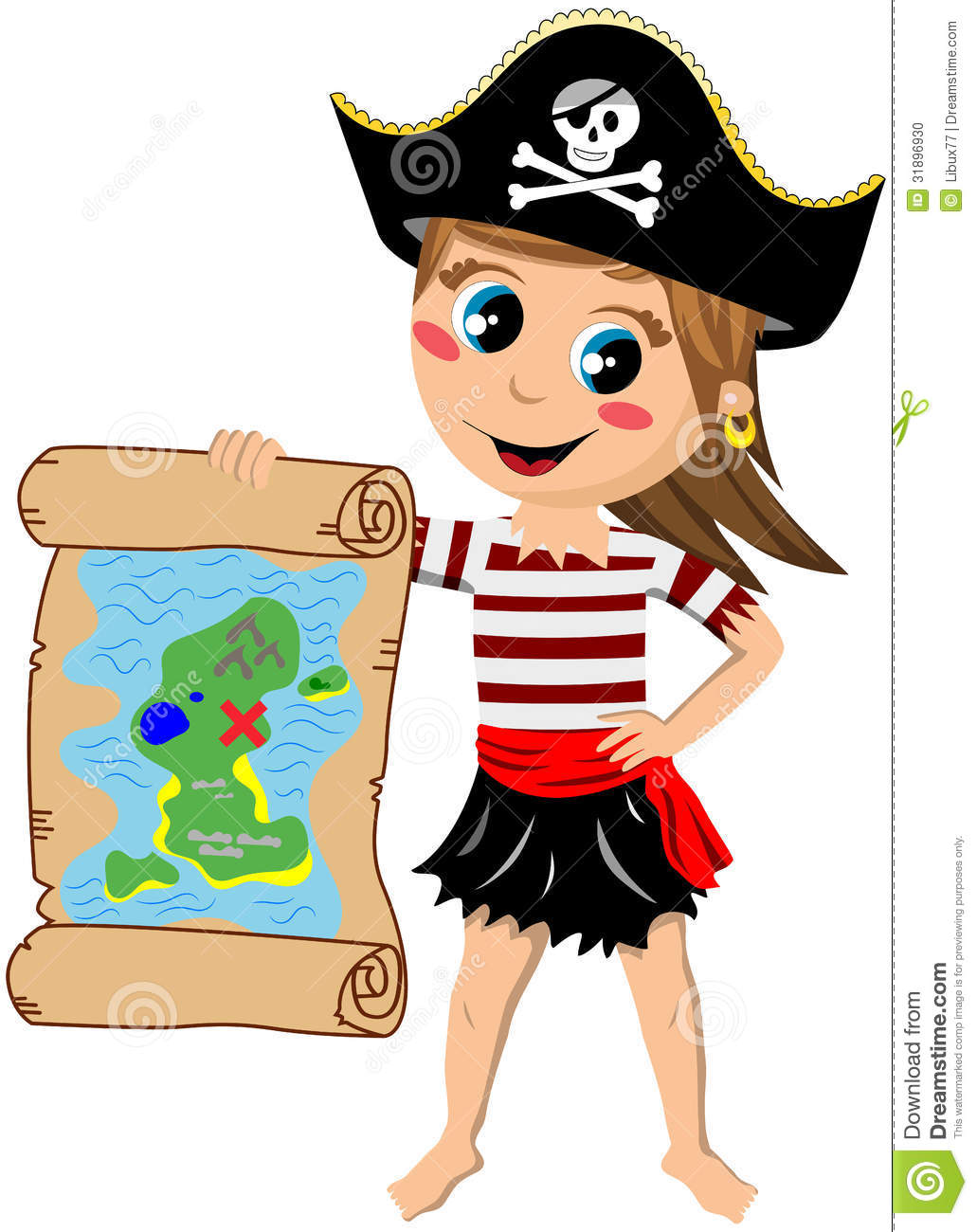 Pirate Girl Showing Treasure Map Stock Photo   Image  31896930