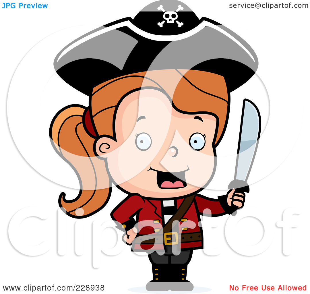 Rf  Clipart Illustration Of A Toddler Pirate Girl Holding A Sword