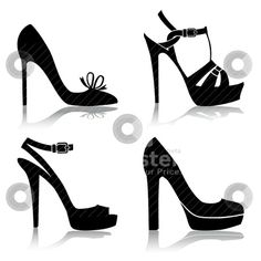 Silhouette Clip Art   Shoes Collection Stock Vector Clipart Shoes