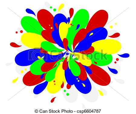 Vectors Illustration Of Color Splash   Primary Colors Abstract
