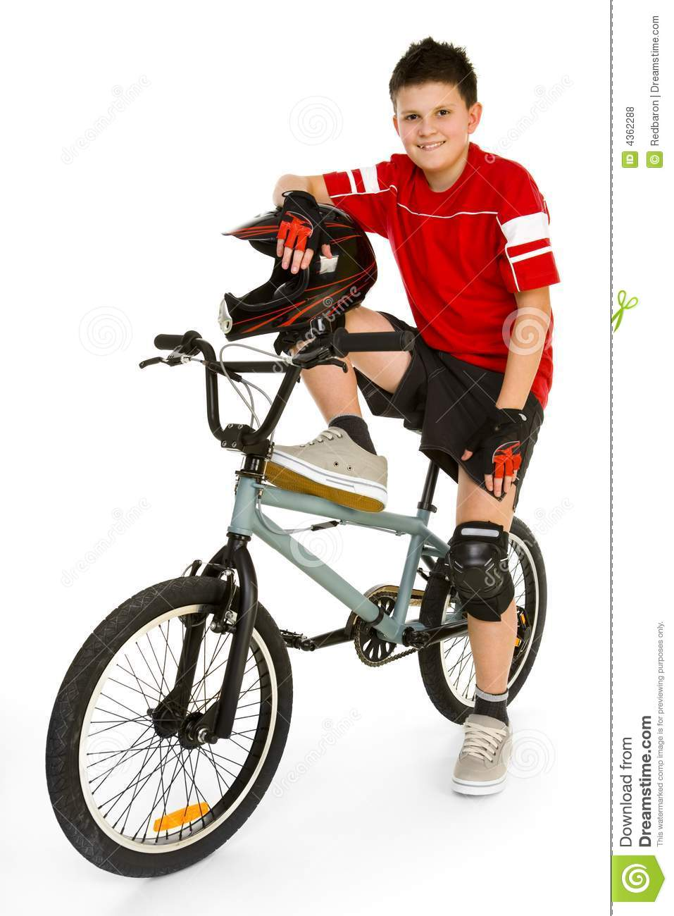Young Happy Biker Sitting On Bmx And Looking At Camera  Isolated On
