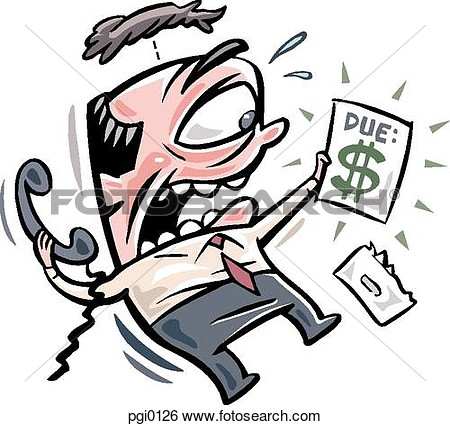 Stock Illustration   Man Scared Of His Expensive Bill  Fotosearch