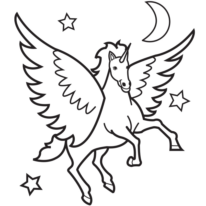 13 Winged Unicorn Coloring Pages Free Cliparts That You Can Download