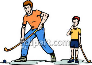 Brothers Playing Hockey Royalty Free Clipart Image