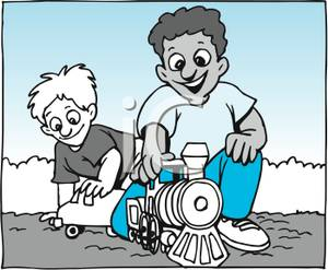 Brothers Playing With Toys Outside In The Dirt   Royalty Free Clipart