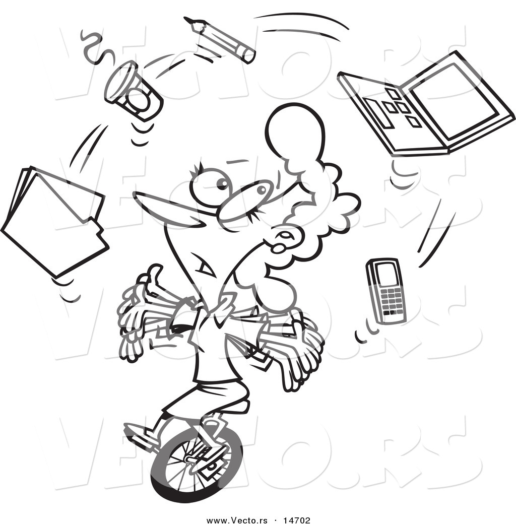 Cartoon Businesswoman Juggling Office Items On A Unicycle   Coloring