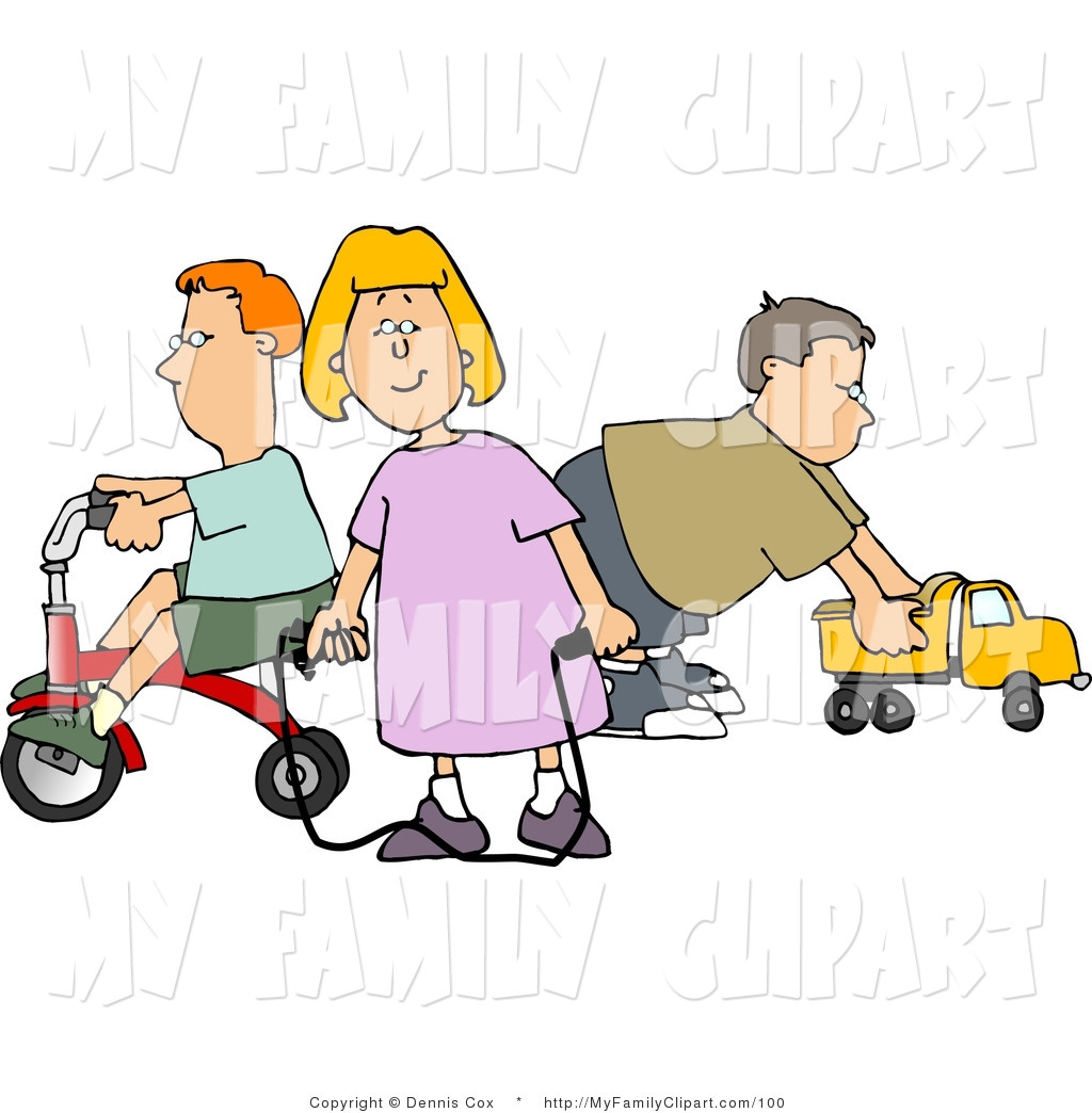 Clip Art Of A Young Girl And Her Brothers Playing With Toys By Djart