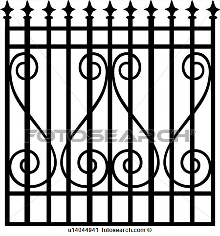 Clipart    Arrows Fence Gate Grill Iron Ironwork Scroll Swirls
