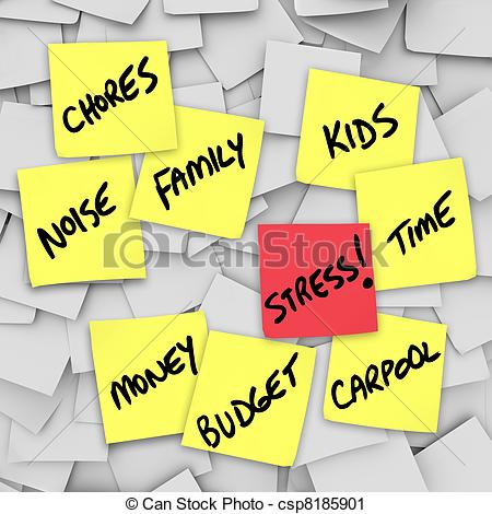 Clipart Of Stress Burdens Sticky Notes Reminders For Stressful Life