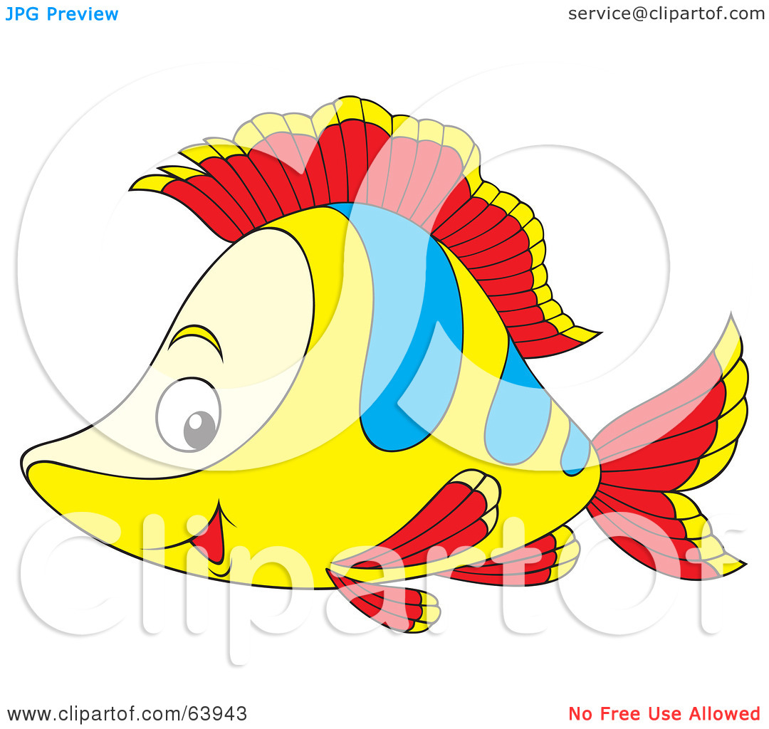 Free  Rf  Clipart Illustration Of A Happy Yellow Red And Blue Fish