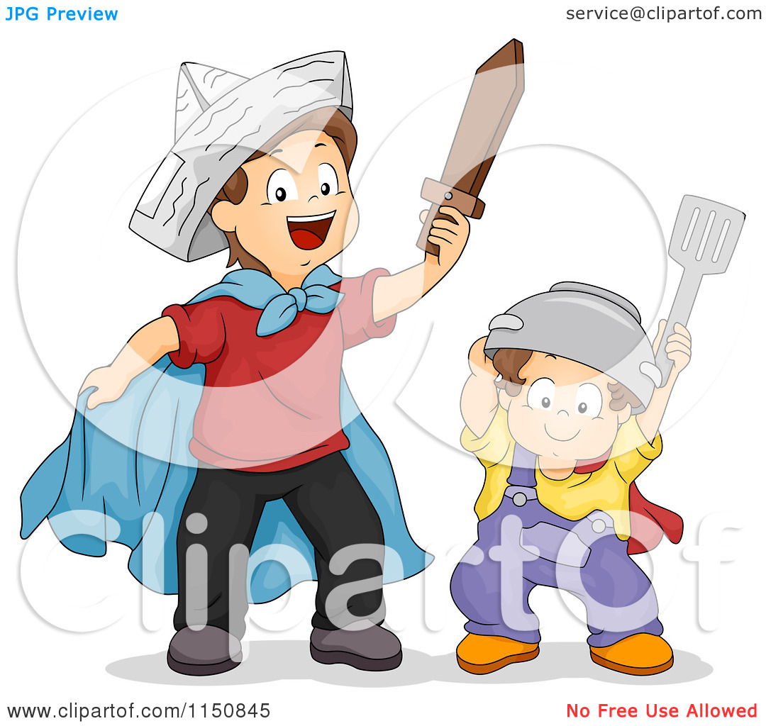 Of Brothers Playing Warriors Together   Royalty Free Vector Clipart