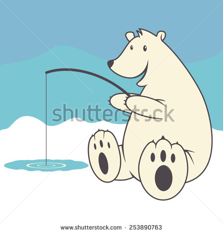 Polar Bear Ice Fishing Vector Illustration   Stock Vector