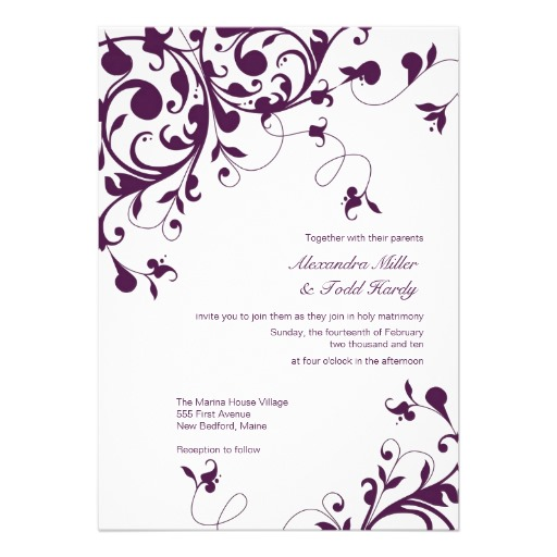 Purple Swirls Floral Wedding Invitations 13 Cm X 18 Cm Invitation Card