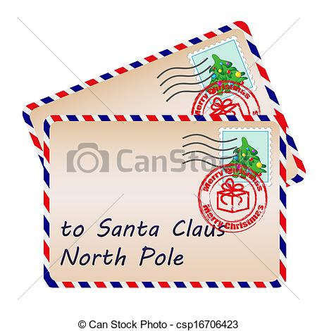 Santa Claus With Stamps And Postage Marks Csp16706423   Search Clipart