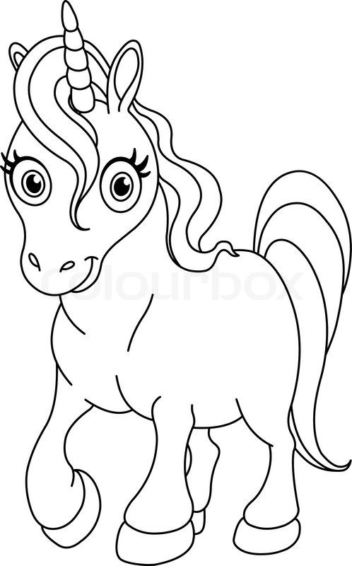 Stock Vector Of  Outlined Coloring Page Cute Unicorn