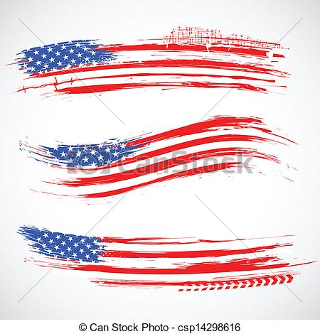 Vector Clip Art Of Grungy American Flag Banner Illustration Of
