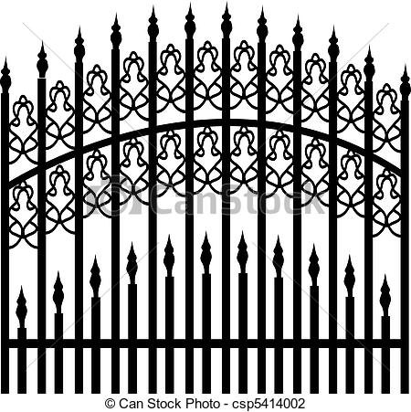 Vector Illustration Of Iron Fence Csp5414002   Search Clipart
