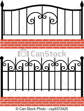 Vector   Various Wrought Iron Fence   Stock Illustration Royalty Free