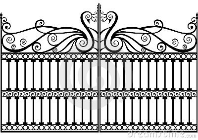 Wrought Iron Fence Or Gate Vector Eps Royalty Free Stock Images