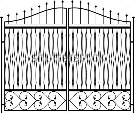 Wrought Iron Gate Door Fence Design Royalty Free Stock Vector Art