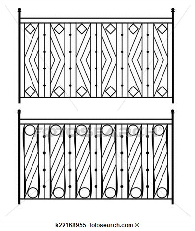 Wrought Iron Gate Door Fence Window Grill Railing Design Vector