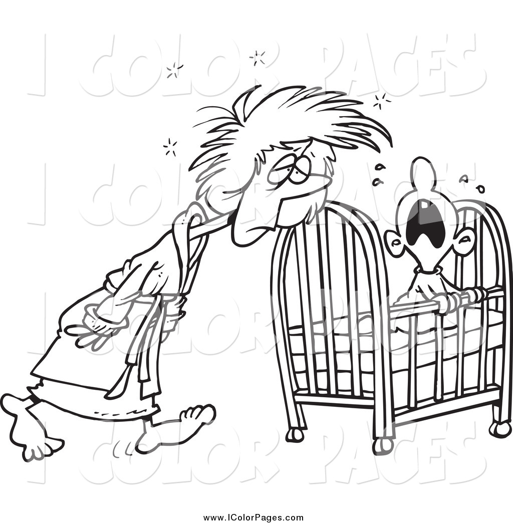 Baby Cot Clipart Black And White Of A Black And White Tired