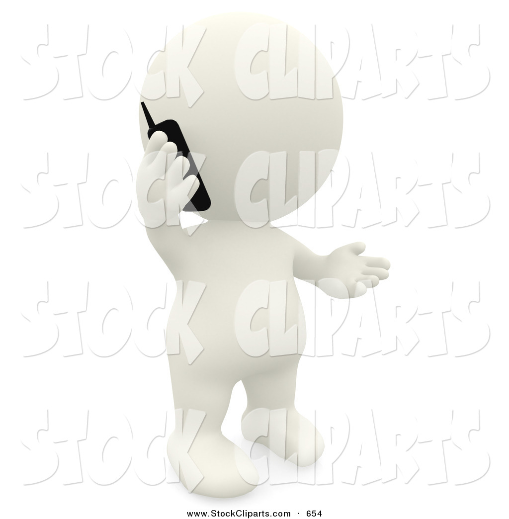 Clip Art Of A 3d White Teeny Person Talking On A Cell Phone By Andresr