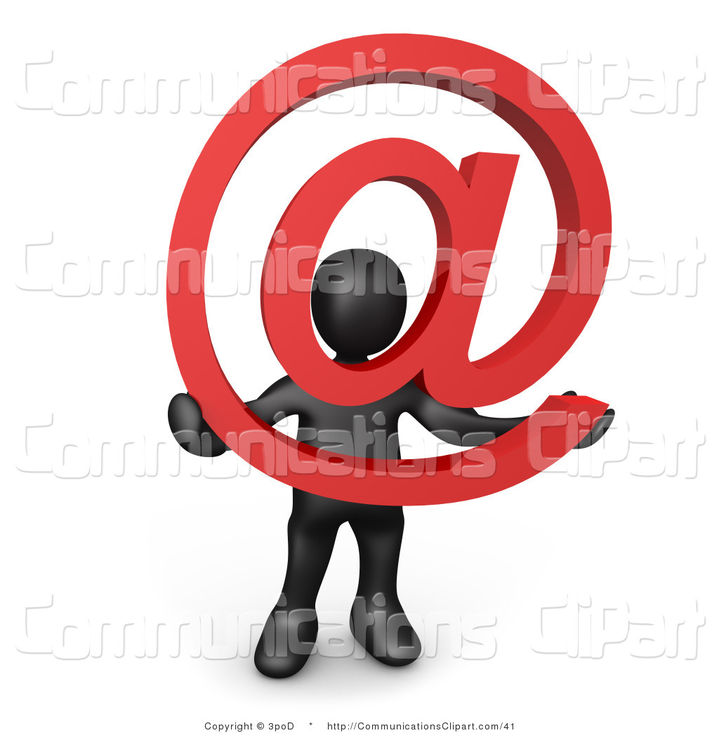 Communication Clipart Of A 3d Black Person Holding An Email Symbol By