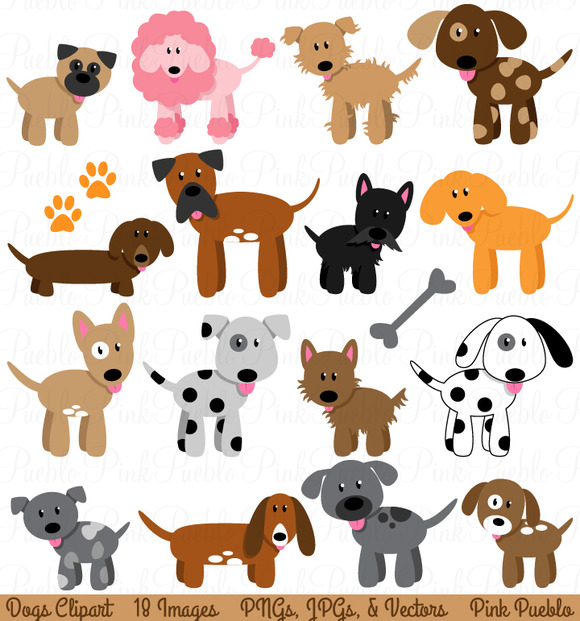 Dog And Puppy Clipart And Vectors   Illustrations On Creative Market