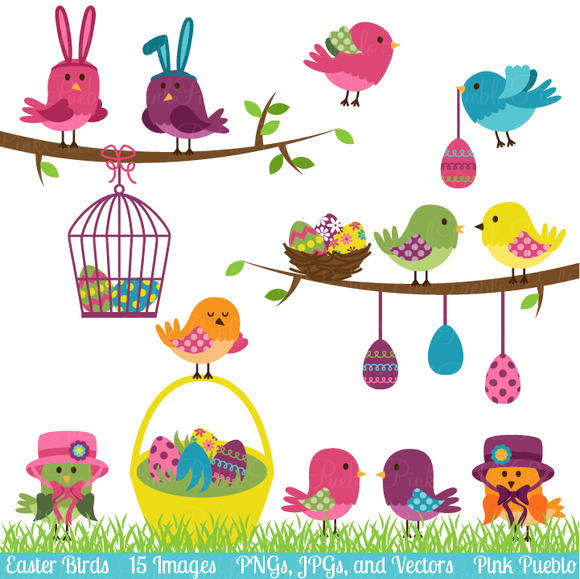 Easter Birds Clipart And Vectors   Illustrations On Creative Market