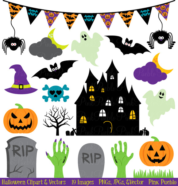 Halloween Clipart And Vectors   Illustrations On Creative Market