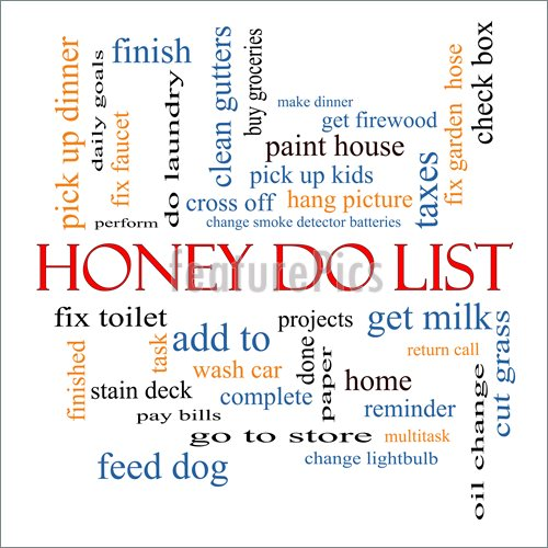 Illustration Of Honey Do List Word Cloud Concept With Great Terms Such