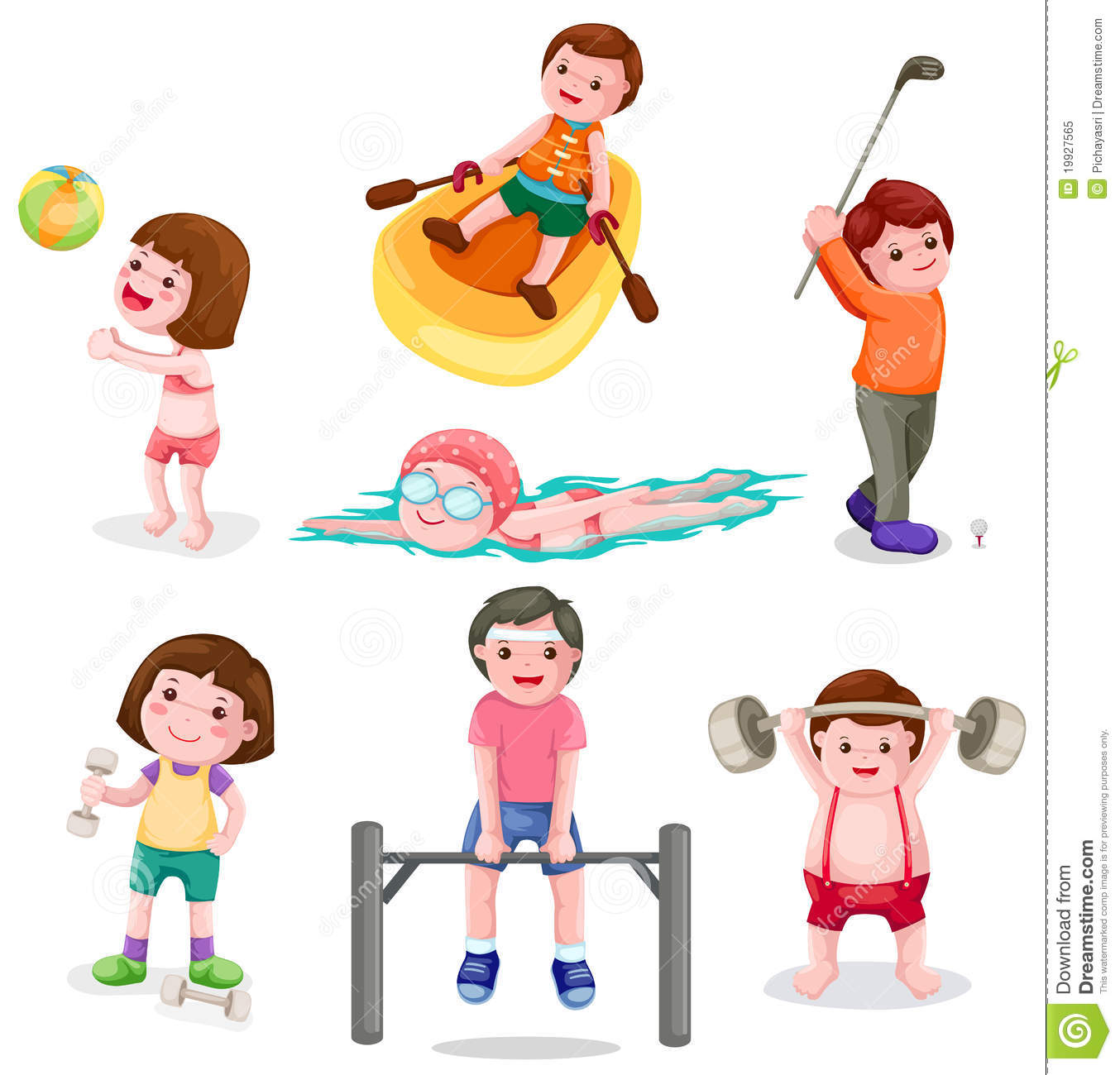 Kids Exercise Clip Art Set Of Activity Exercise