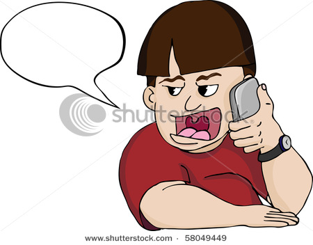 Picture Of A Person Talking Loudly On Their Cell Phone For All To Hear